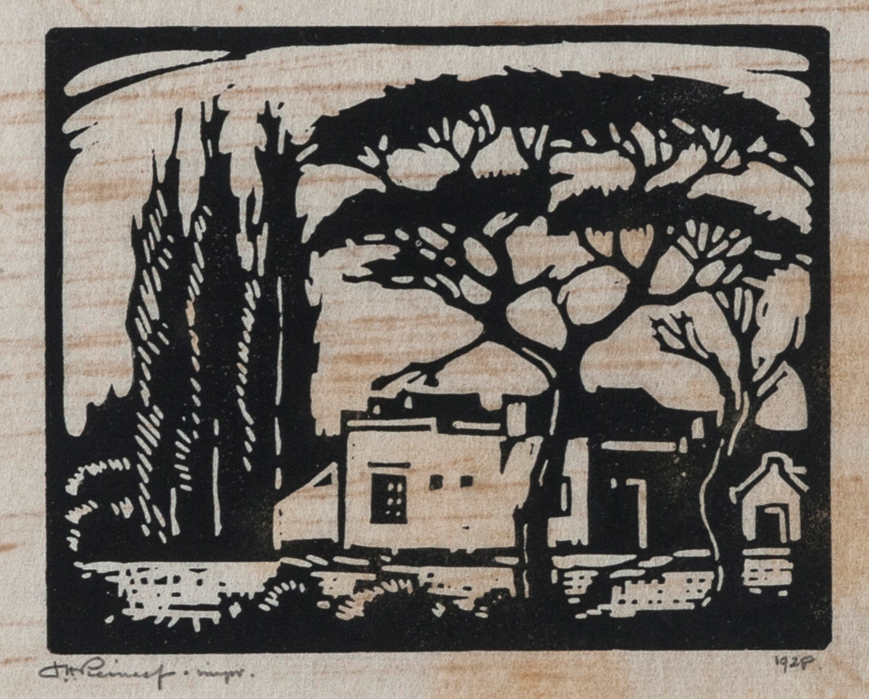 LOT 317 – Jacob Hendrik Pierneef (1886-1957). PLAASHUIS, RUSTENBURG Linocut On Paper, Signed And Dated 1928