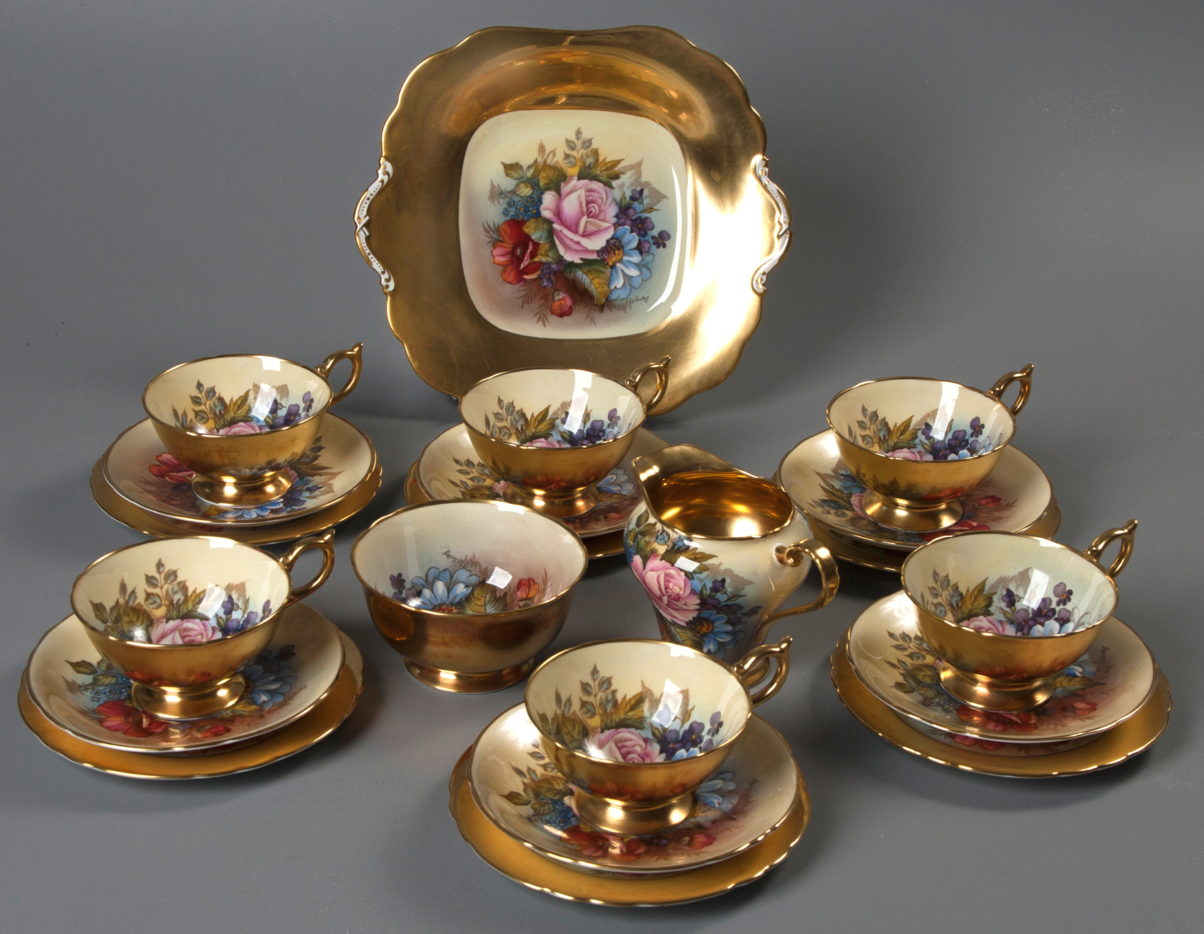 LOT 70 – A SET OF AYNSLEY BONE CHINA PAINTED BY JA BAILEY, CIRCA 1930