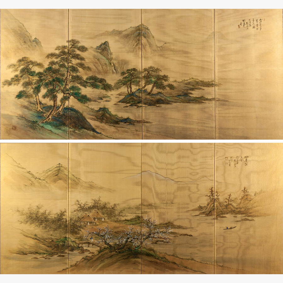LOT 125 – A PAIR OF FRAMED JAPANESE FOUR FOLD SCREENS