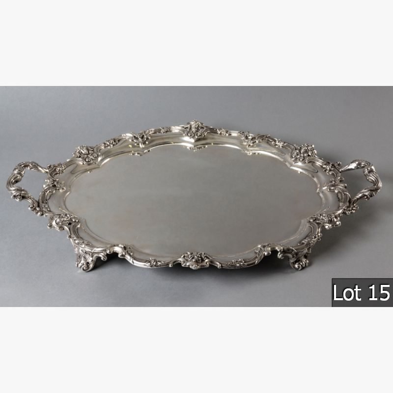 LOT 15 – AN EDWARDIAN SILVER TWIN-HANDLE OVAL TRAY