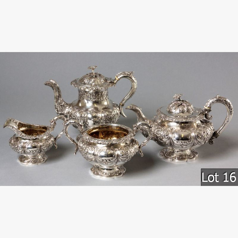 LOT 16 – A WILLIAM IV FOUR PIECE TEA AND COFFEE SERVICE
