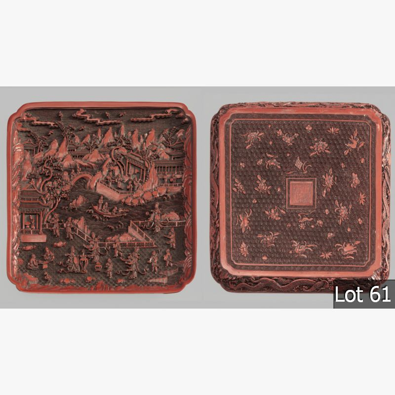 LOT 61 – A SUPERBLY CARVED CHINESE CINNABAR LACQUER TRAY