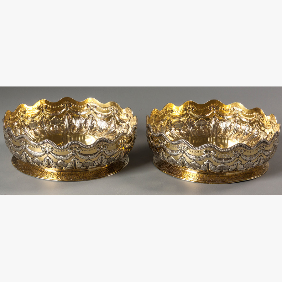 Lot 8 – A PAIR OF SILER GILT BOWLS, LONDON 1882